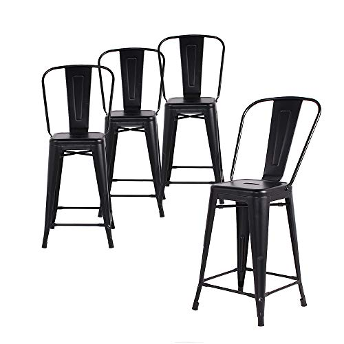 Buschman Set of 4 Matte Black 24 Inches Counter Height Metal Bar Stools with High Back, Indoor/Outdoor