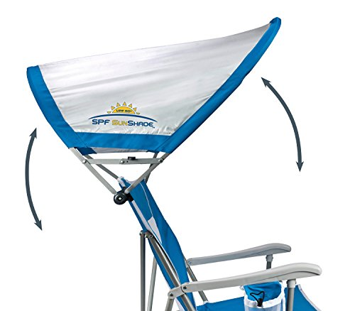 GCI Outdoor Waterside SunShade Folding Captain's Beach Chair with Adjustable SPF Canopy