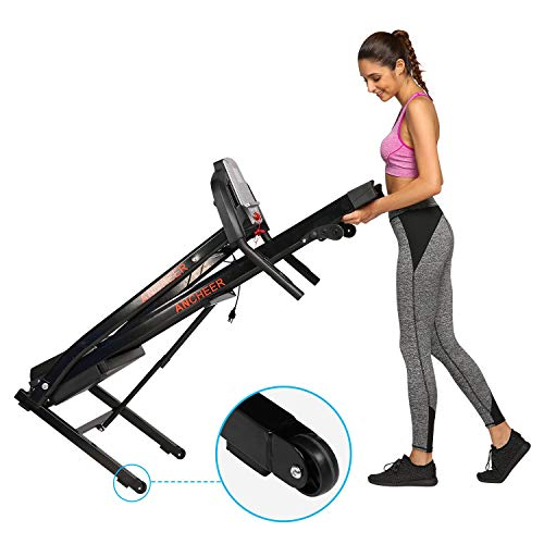 ANCHEER Treadmill, Folding Electric Treadmills, Motorized Running APP Contral Treadmills with Rolling Wheels