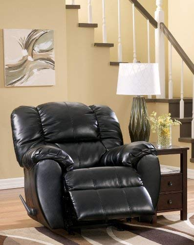 Ashley Furniture Signature Design - Dylan Rocker Recliner - Pull Tab Manual Reclining Sofa - Contemporary - Onyx Black