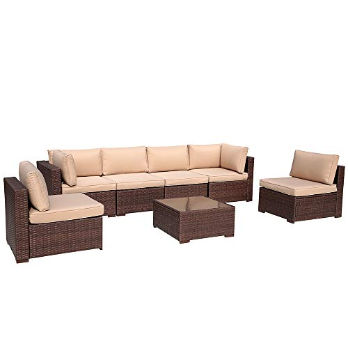 Patiorama Outdoor Patio Furniture Sectional Wicker Sofa Set 7 PCs Patio Rattan, All-Weather Waterproof Brown Wicker Washable Beige Cushions (Brown)