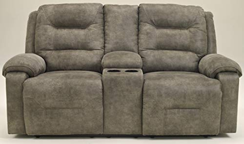 Ashley Furniture Signature Design - Rotation Recliner Loveseat with Console - Pull Tab Manual Reclining Sofa - Contemporary - Smoke Gray