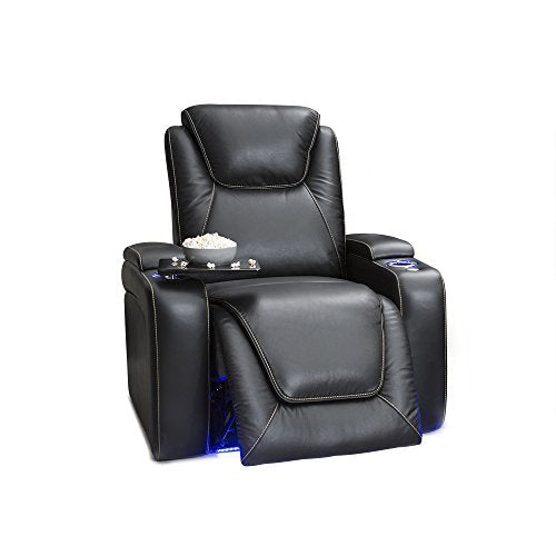 Seatcraft Equinox Home Theater Seating - Leather - Power Recliner - Adjustable Power Headrest - Adjustable Powered Lumbar Support - USB Charging - Storage - SoundShaker - Lighted Cup Holders - Black