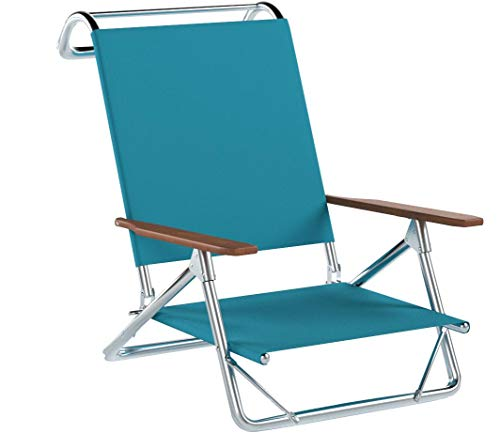 Telescope Casual Original Mini-Sun Chaise Folding Beach Arm Chair, Aqua