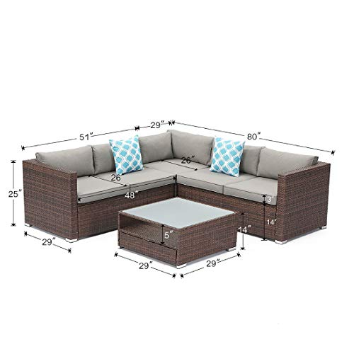 COSIEST 4-Piece Outdoor Furniture Set All-Weather Mottlewood Brown Wicker Sectional Sofa w Warm Gray Thick Cushions, Glass Coffee Table, 2 Teal Pattern Pillows Incl. Waterproof Cover, Clips