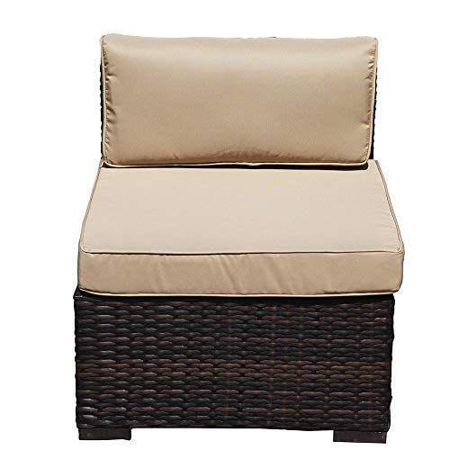Patiorama Armless Chair,Outdoor Patio Loveseat Brown Rattan Wicker Sofa Chair,Additional Seats 7 Piece Set