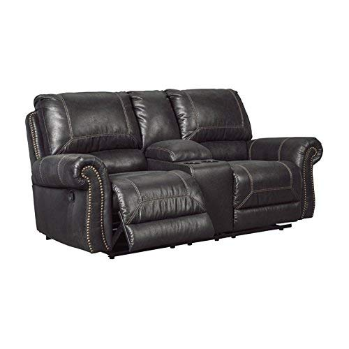 Ashley Furniture Signature Design - Milhaven Faux Leather Upholstered Double Reclining Loveseat w/Console - Contemporary - Black
