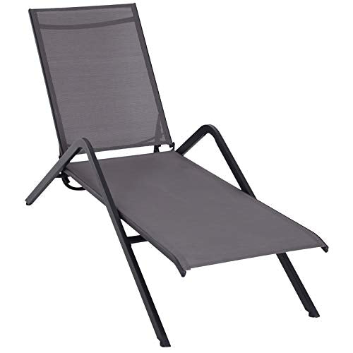 Outsunny Steel Mesh Adjustable Portable Folding Outdoor Chaise Lounge Chair - Grey