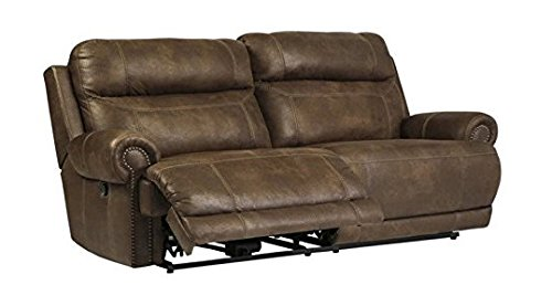 Ashley Furniture Signature Design - Austere Recliner Sofa - Pull Tab Manual Reclining - Contemporary - Brown