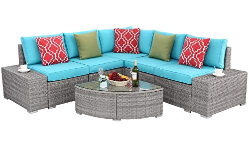 Do4U 6 PCs Outdoor Patio PE Rattan Wicker Sofa Sectional Furniture Set Conversation Set- Turquoise Seat Cushions & Glass Coffee Table| Patio, Backyard, Pool| Steel Frame (5828-GRY-TRQ)