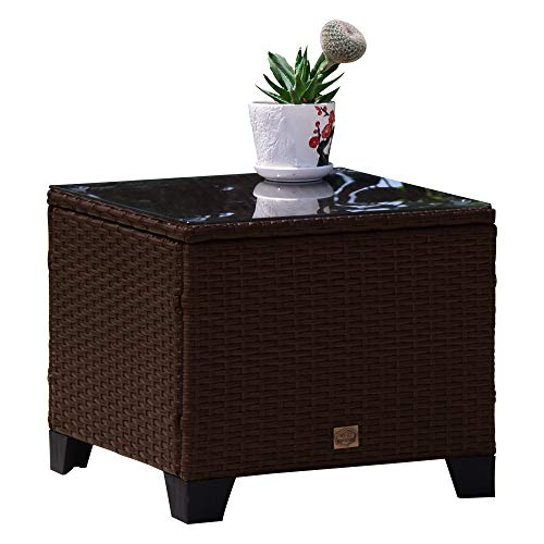 Cloud Mountain 3 PC Outdoor Patio Wicker Ottoman Table Set Seat with Cushion Foot Rest Stool with Glass Coffee Table, Cocoa Brown Rattan Beige Cushions
