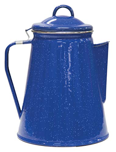 Stansport 8 Cup Enamel Percolator with Four Enamel Mugs, 12-Ounce