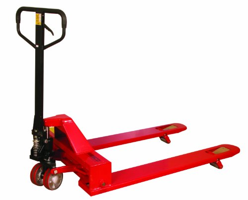 "Wesco 273400 4-Way Pallet Truck with Handle, Polyurethane Wheels, 4,000 lb. Load Capacity, 47"" Height, 48"" Length x 33"" Width"