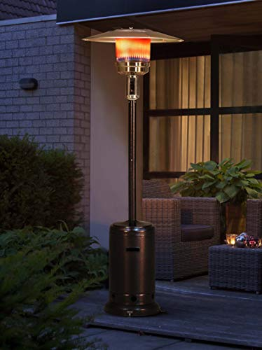 "Sunjoy Lawrence Floor-Standing Patio Heater, 88"", Bronze Hammered Finished"