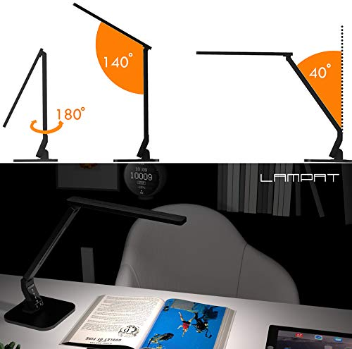 Lampat LED Desk Lamp, Dimmable LED Table Lamp Black, 4 Lighting Modes, 5-Level Dimmer, Touch-Sensitive Control Panel, 1-Hour Auto Timer, 5V/2A USB Charging Port)