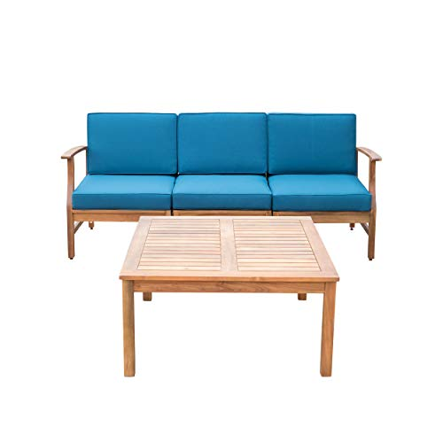 Lorelei Outdoor 3 Seater Teak Finished Acacia Wood Sofa and Table Set with Blue Water Resistant Cushions