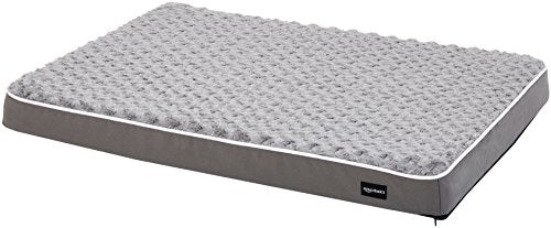 AmazonBasics Ergonomic Foam Pet Dog Bed - 27 x 36 Inches, Grey