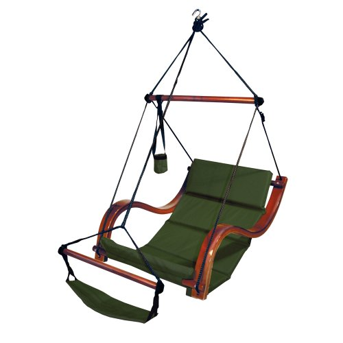 South Mission Sky Air Lounger Porch/Patio Swing with Wooden Armrest - Green