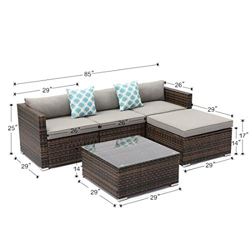 COSIEST 5-Piece Outdoor Furniture All-Weather Mottlewood Brown Wicker Sectional Sofa w Warm Gray Thick Cushions, Glass-Top Coffee Table, 2 Teal Pattern Pillows Incl. Waterproof Cover, Clips
