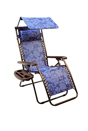 "Bliss Hammocks Zero Gravity Chair with Canopy and Side Tray, Blue Flowers, 26"" Wide"