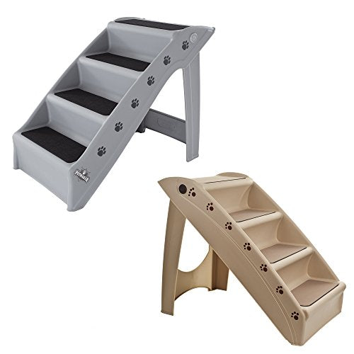Folding Plastic Pet Stairs Durable Indoor or Outdoor 4 Step Design With Built-in Safety Features For Dogs Cats Home Travel by PETMAKER Â- Gray