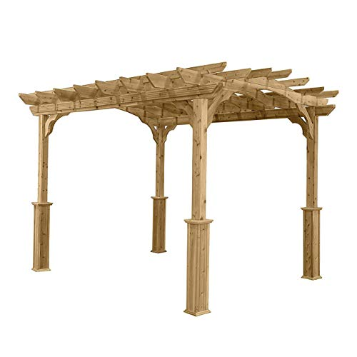 Suncast 10' x 12' Wood Pergola - Open Stable Pergola Perfect for Outdoor Settings, Backyards, Gardens, BBQs, Outdoor Party