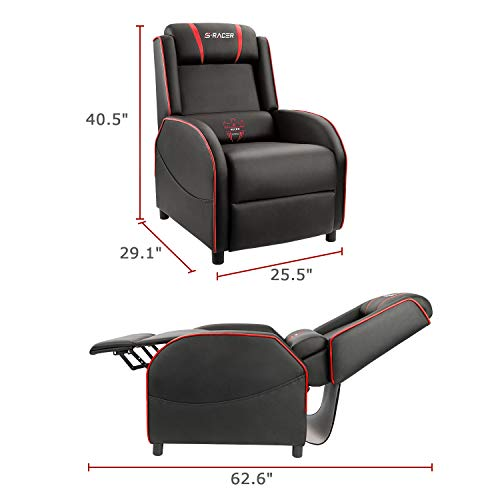 Homall Gaming Recliner Chair Single Living Room Sofa Recliner PU Leather Recliner Seat Home Theater Seating (Red)