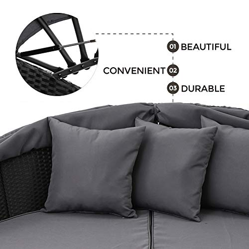 SUNCROWN Outdoor Patio Round Daybed with Retractable Canopy, Black Wicker Furniture Clamshell Sectional Seating with Washable Cushions, Patio, Backyard, Porch, Pool