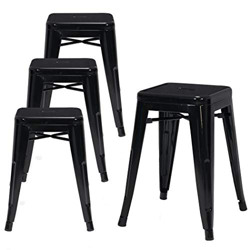 "Duhome 4 pcs 18"" Metal Chairs Tolix Style Dining Stools Indoor Outdoor Restaurant Cafe Industrial Design (Black)"