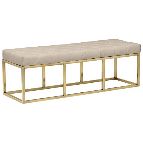 """Rivet Glam Tufted Seat Upholstered Bench with Gold Legs , 58""""L, Gold Finish"""