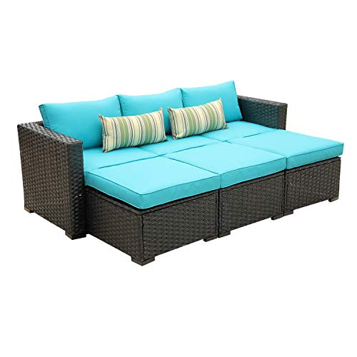 Outdoor Sectional Sofa Set 4-Piece Patio PE Black Wicker Rattan Conversation Furniture with Turquoise Cushion
