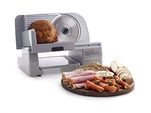 Chef'sChoice 609A000 Electric Meat Slicer with Stainless Steel Blade Features Slice Thickness Control and Tilted Food Carriage Easy Clean, 7-Inch, Silver
