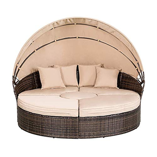 Incbruce Patio Furniture Outdoor Daybed, Brown Wicker Furniture with Retractable Canopy, 4 Separated Cushioned Seats and 1 Round Table