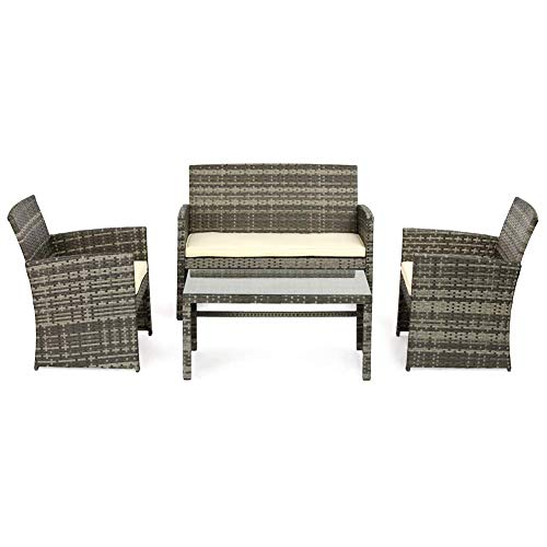 OUTROAD Outdoor Furniture 4 Piece Grey Wicker Patio Sofa Set - All Weather Cushioned Wicker Love Seat with Glass Top Table and Two Armchairs