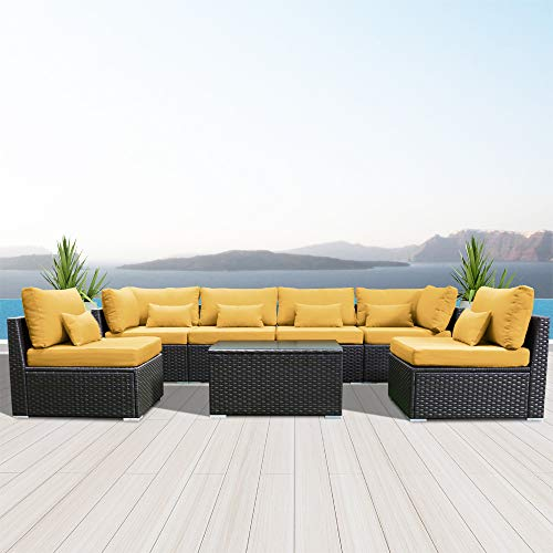 Modenzi 7G-U Outdoor Sectional Patio Furniture Espresso Brown Wicker Sofa Set (Royal Yellow)