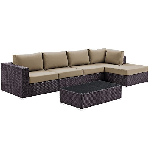 Modway Convene Wicker Rattan 5-Piece Outdoor Patio Sectional Sofa Furniture Set in Espresso Mocha