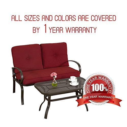 Homevibes 2 Pieces Outdoor Loveseat Patio Love Seat Furniture Set Garden Wrought Iron 2 Seat Bench Backyard Coffee Table Metal Sofa and Table Set with Cushions, Brick Red