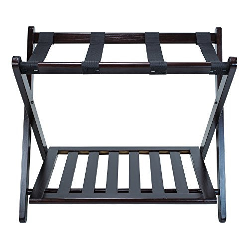 Casual Home Luggage Rack with Shelf, Espresso