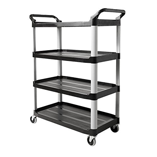 Rubbermaid Commercial Products Heavy Duty 4-Shelf Rolling Service/Utility/Push Cart, 300 lbs. Capacity, Platinum, for Foodservice/Restaurant/Cleaning (FG409600BLA)
