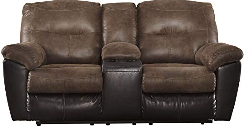 Ashley Furniture Signature Design - Follett Overstuffed Upholstered Double Reclining Loveseat w/Console - Contemporary - Coffee