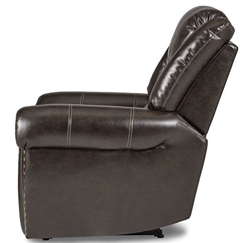 "Homelegance Center Hill 83"" Bonded Leather Double Glider Reclining Loveseat , Brown"