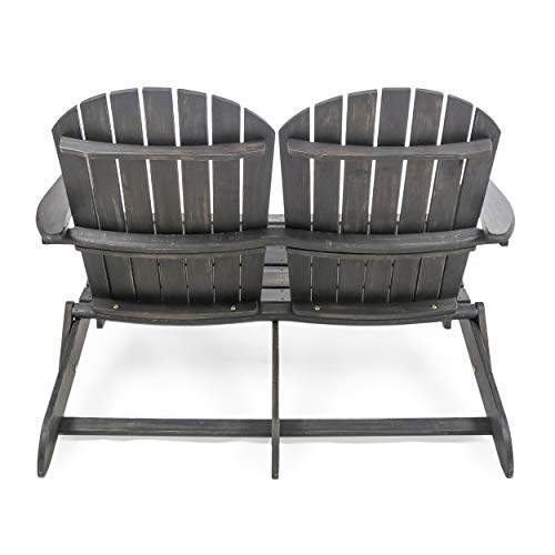 Great Deal Furniture 304033 Muriel Outdoor Dark Grey Finish Acacia Wood Adirondack Loveseat,