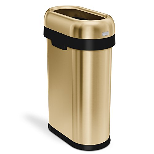 simplehuman 50 Liter / 13.2 Gallon Slim Open Top Trash Can, Commercial Grade, Heavy Gauge Brass Stainless Steel