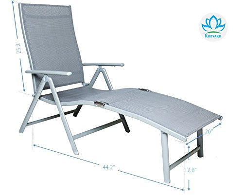 Kozyard Cozy Aluminum Beach Yard Pool Folding Reclining Adjustable Chaise Lounge Chair (2, Gray)