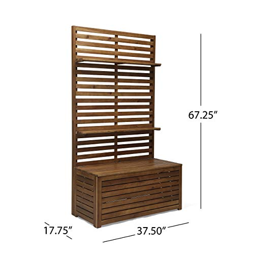 Great Deal Furniture 309033 Priscilla Outdoor Wooden Hall Tree, Teak Finish