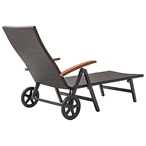 Outdoor Chaise Lounge with 2 Wheels for Easy Movement Folding Recliner 7 Adjustable Position Rattan Lounge Chair Heavy Duty Aluminum Tube Construction Perfect for Patio Garden Beach Pool Side Using