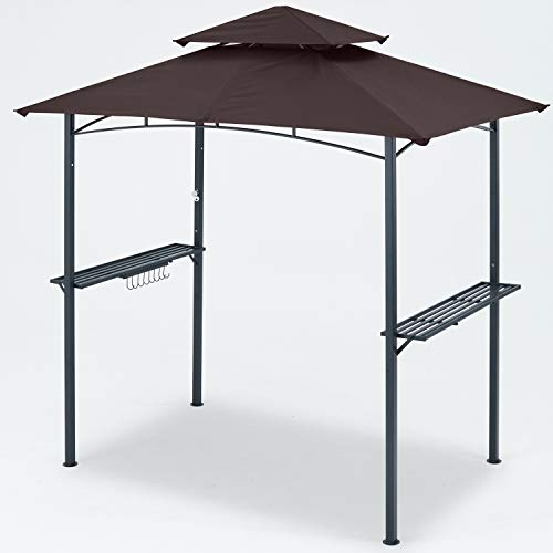 MASTERCANOPY Garden 8 x 5 Double Tiered Grill Gazebo Outdoor BBQ Gazebo Canopy with LED Light (Brown)