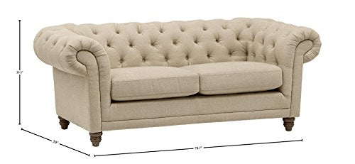 "Stone & Beam Bradbury Chesterfield Tufted Loveseat Sofa Couch, 78.7""W, Hemp"