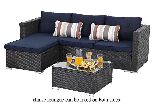 PHI VILLA 3 Piece Patio Sectional Furniture Outdoor Sofa Set with Upgrade Rattan Wicker Navy Blue