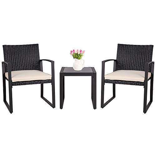 SUNLEI 3 Pieces Patio Set Outdoor Wicker Patio Furniture Sets Modern Bistro Set Molded Rattan Chair Conversation Sets with Coffee Table (Black)